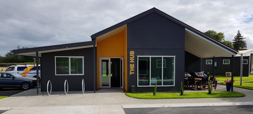 Podium Lodge was built with a central 'HUB' where athletes and coaches could congregate for meetings and training sessions.