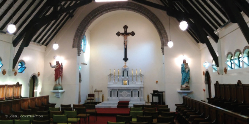 Lobell assisted by removing statues and icons for conservation by others off-site, carefully restored all internal aspects of St. Mary's Convent Chapel, and then re-instated the statues and icons.